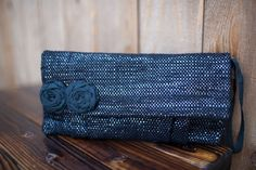 Rewind Clutch - This glimmering clutch is made from cotton yarn and upcycled cassette tapes