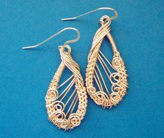 Woven Copper Wire Earrings, Hand Woven Silver Wire Loop Earrings