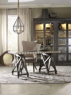 The Vintage West sawhorse accent desk introduced by Hooker Furniture at the Spring #HPMKT.