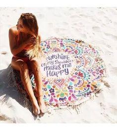 KING DO WAY Round Mandala Tapestry Indian Wall Hanging Beach Throw Towel Yoga Mat sunscreen shawl wrap skirt tassels cotton beach towel Manta Mandala, Mandala Indio, The Beach, Summer Beach, Beach Mat, Circle Beach Towel, Summer Sport, Sand Beach, 2017 Summer