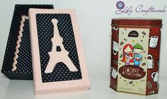 Caixa em MDF (madeira) trabalhada com tecido e patchwork embutido! Paris
