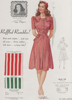 'Ruffled Rambler' striped dress with strong shoulders, a slim top, flirty ruffles and a full skirt ~ Fashion Frocks, ca. 1940s.