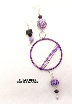 Multi listed PURPLE Philly Odds asymmetrical earrings by TNETTE3, $25.00