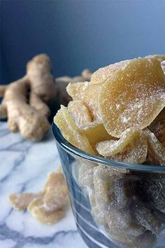 Make your own candied ginger at home with our recipe - make a great sweet treat, natural herbal remedy, has a long shelf life, and the flavored simple syrup that you wind up with as a result is great in cocktails! Read more: http://foodal.com/recipes/canning/crystallized-ginger-candy/ 