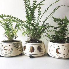 Handmade ceramic boho moon planters / Allison Fretheim Ceramics