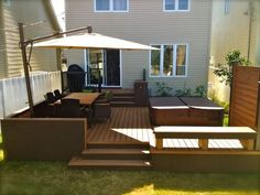 Patio Plus - Hot tub Decks Patio Plus, Small Patio, Small Backyard Decks, Small Yards, Backyard Patio Designs, Backyard Landscaping, Patio Ideas, Backyard Ideas, Whirlpool Deck