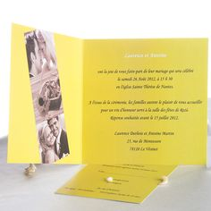 Moderne Faire-Part Mariage Jaune Avec Photos Inserees JM446  #weddinginvitations #joyeuxmariage #fairepartmariage