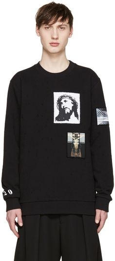 Givenchy Black Distressed Jesus Patches Sweatshirt