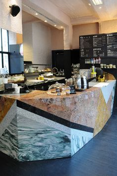 Love the marble bar at We Are Juice in Paris