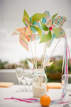 Pinwheel Wedding Centerpieces - for a few people i know Summer Centerpieces, Wedding Table Centerpieces, Non Floral Centerpieces, Diy Centerpieces Cheap, Summer Table Decorations, Centerpiece Flowers, Table Wedding, Centerpiece Ideas, Pinwheel Centerpiece