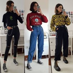 hipster outfits that will make you look great 10 ~ thereds. Edgy Outfits, Mode Outfits, Retro Outfits, Grunge Outfits, Vintage Outfits, Fashion Outfits, School Outfits, Fashion Styles, Summer Outfits
