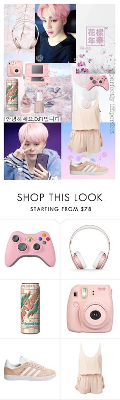 """Pastel jimin"" by beoncat ❤ liked on Polyvore featuring Beats by Dr. Dre, Fujifilm, adidas, STELLA McCARTNEY, Essie and Nintendo"