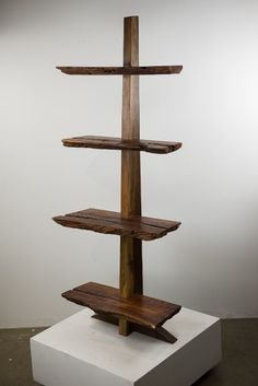 This beautiful shelving unit has a Black Walnut Spine with Black Walnut shelves. It has many carpenter ant trails and cracks throughout giving it unique and stunning characteristics. It stands just un