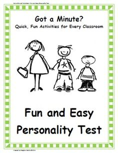 Fun, fast activities that can be used in every classroom! This personality test is a fun, silly activity perfect for a beginning of the year ice-b. Elementary School Counseling, School Counselor, Elementary Schools, Test For Kids, First Day Of School Activities, Therapy Worksheets, Counseling Activities, Guidance Lessons, Character Education