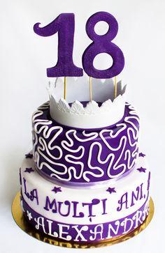 Daca si tu iti doresti un tort elegant pentru majorat, decorat in culorea violet, nu ezita sa ne contactezi. Noi propunem acest tort pentru printesa din tine! 18th Birthday Cake, Prom Dresses, Desserts, Tailgate Desserts, Deserts, Postres, Dessert, Ball Gowns, Plated Desserts