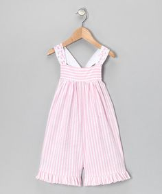 Take a look at this Pink Seersucker Ribbon Romper - Toddler by Just Ducky Originals on #zulily today!