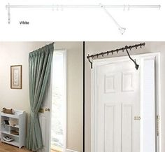 """Door Curtain Pole - WHITE RISING PORTIERE ROD 42"""" (106cm) Long"""