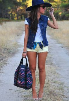 denim-vest with linger shorts, hat, t-shirt, scarf belt