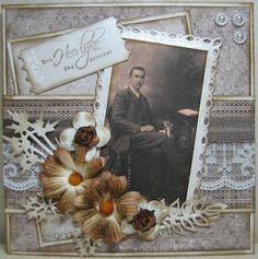 Heritage portrait page with a great layered background, punched frame and beautiful flower and scroll accent.