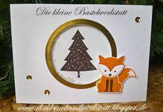 Stampin Up  Schüttelkarte Grusskarte Herbst-/Winter Stempelset Foxy Friends Elementstanze Fuchs Fremelits Lagenweise Kreise