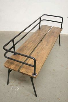 Great industrial bench for outside seating! Panka - Indoor/ outdoor bench Panka is a handmade, made to order bench , built with reclaimed wood and recycled steel pipes, hand bent with oxygen/acetylene torches. Vintage Industrial Furniture, Industrial House, Wood Furniture, Furniture Design, Industrial Bench, Industrial Design, Industrial Shelving, Industrial Lighting, Industrial Office