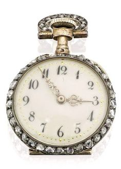 A lady's early 20th century diamond fob watch, French The ivory coloured dial with Arabic chapters, the bezel, loop and case back set throughout with rose-cut diamonds, diameter 22mm, the dust cover bearing French marks for silver