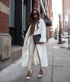 With spring just around the corner, I wanted to round up 7 chic spring outfits you can wear for any day of the week. Whether you work in the office or. White Leather Pants, Faux Leather Skirt, Vinyl Leggings, Athleisure Outfits, Ribbed Sweater, Light Jacket, Spring Outfits, Winter Outfits, Street Styles