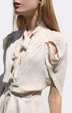 Delicate blouse with cape sleeve detail; pattern cutting; sewing idea; contemporary fashion design details // Anaise