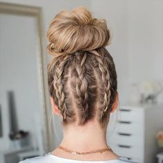 Three Dutch Braids High Bun 🎥 Full tutorial link in my bio! 💕 Best Picture For braided hairstyles wi Undercut Hairstyles Women, Easy Hairstyles, 7th Grade Hairstyles, Braided Hairstyles Medium Hair, Cute Hairstyles With Braids, Running Hairstyles, Donut Bun Hairstyles, French Braid Hairstyles, Workout Hairstyles
