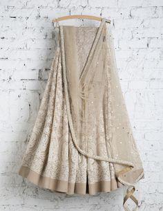 SwatiManish Lehengas SMF LEH 159 17 Nude Lehenga and dupatta with shiny sequin blouse