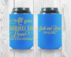 Wedding Koozies, All You Need Is Love, Drink Sleeves, Baby Shower Gifts, Party Favors, Custom Design, Wedding Day, Templates, Babyshower