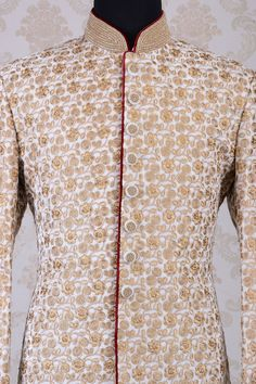 Wedding Sherwani-White & Gold-Zari Work-SH278