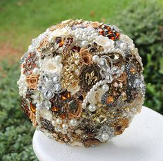 Amber Wedding Brooch Bouquet. Deposit on a made to order Crystal Brown Chocolate and Amber Heirloom Bridal Broach Bouquet