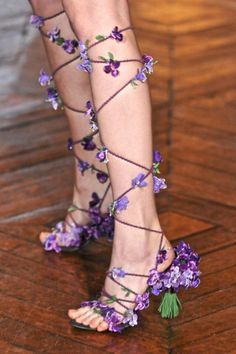 OMG Love love love these fairy shoes!!!!!! This could be a DIY project with any shoes, some ribbon or cord and little flowers~