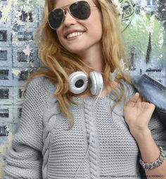 images attach d 0 136 327 Round Sunglasses, Knitting Patterns, Pullover, Womens Fashion, Dresses, Warm, Crochet, Diy, Crafts