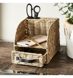 Paper Basket, Desk Organization, Basket Weaving, Rustic, Home Decor, Organize, Paper Envelopes, Country Primitive, Decoration Home