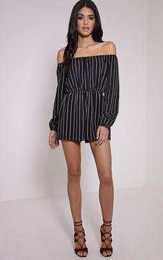 Kennie Monochrome Striped Bardot Playsuit - Jumpsuits & Playsuits - PrettylittleThing | PrettyLittleThing.com