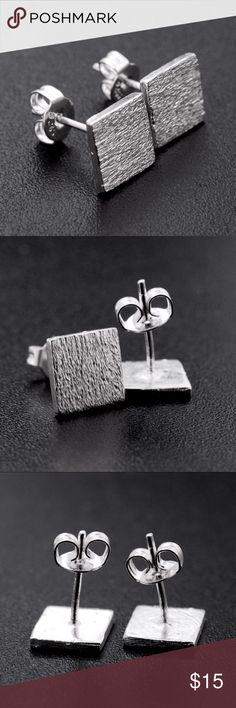 925 Sterling Silver Textured Square Studs NEW 925 Sterling Silver Textured Square Stud Earrings NEW. Bundle & Save On Shipping. Silver Luxe Jewelry Earrings