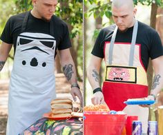 I don't know whats better, the awesome aprons, or the assumption that people with that many tattoos care about a couple stains on their clothes.