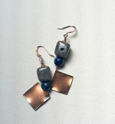 Porcelain Lapis and Copper Earrings  by Justatishdesigns on Etsy