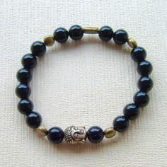 Bracelet yoga homme en perles d'onyx et perles de bronze. idée cadeau