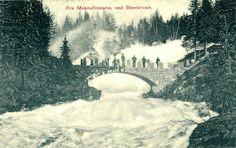 Oppland fylke Lillhammer Mesnafossen ved  Stenbroen Utg Lillehammer Kortforlag 1908
