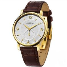 Men`s Round Dial Leather Band Water-resistant Watch