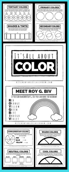 These free printables combine to make a book covering a variety of color theory topics. Pick and choose your pages to make the book perfect for your kiddo!