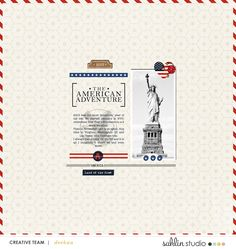 American Adventure digital scrapbooking layout created by Deekaa featuring Project Mouse (World): America by Sahlin Studio and Britt-ish Designs