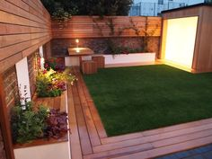 wood with lawn-like the corners of the decking