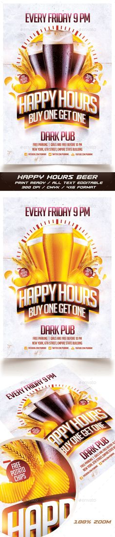 Beer Happy Hours Flyer Template PSD #design Download: http://graphicriver.net/item/beer-happy-hours-flyer/14262785?ref=ksioks