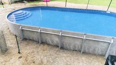 Semi Inground Pool Deck, Oberirdischer Pool, Small Backyard Pools, Backyard Pool Designs, Diy Pool, Swimming Pools Backyard, Pool Landscaping, Lap Pools, Swimming Pool Designs
