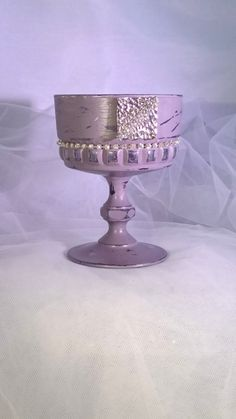 Candle Holder Vintage Glass Desert Stemmed Sundae Dish Diamante Wedding Candle…