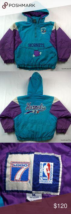 d9414529d579 VTG 90s Charlotte Hornets Winter Pullover Jacket Vintage 90s Charlotte  Hornets Winter Pullover Jacket